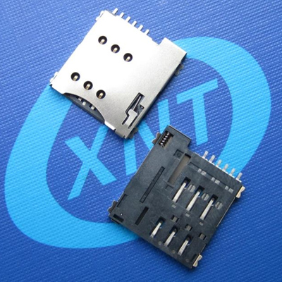 SIM card connector microSim push type 6pin