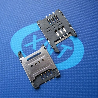 SIM card holder hinged type 6Pin (H=1.8mm) without column detection
